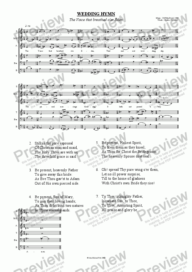 page one of The Voice that breathed o'er Eden (SSATBB) [2000]ASALTTEXT