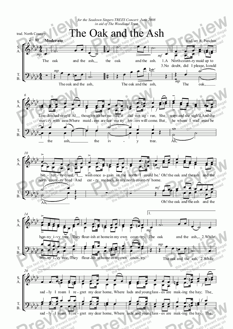 page one of The Oak and the Ash (a capella)
