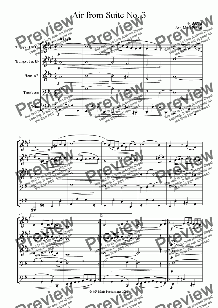 page one of Bach - Air On The G String (Air From Suite No. 3)
