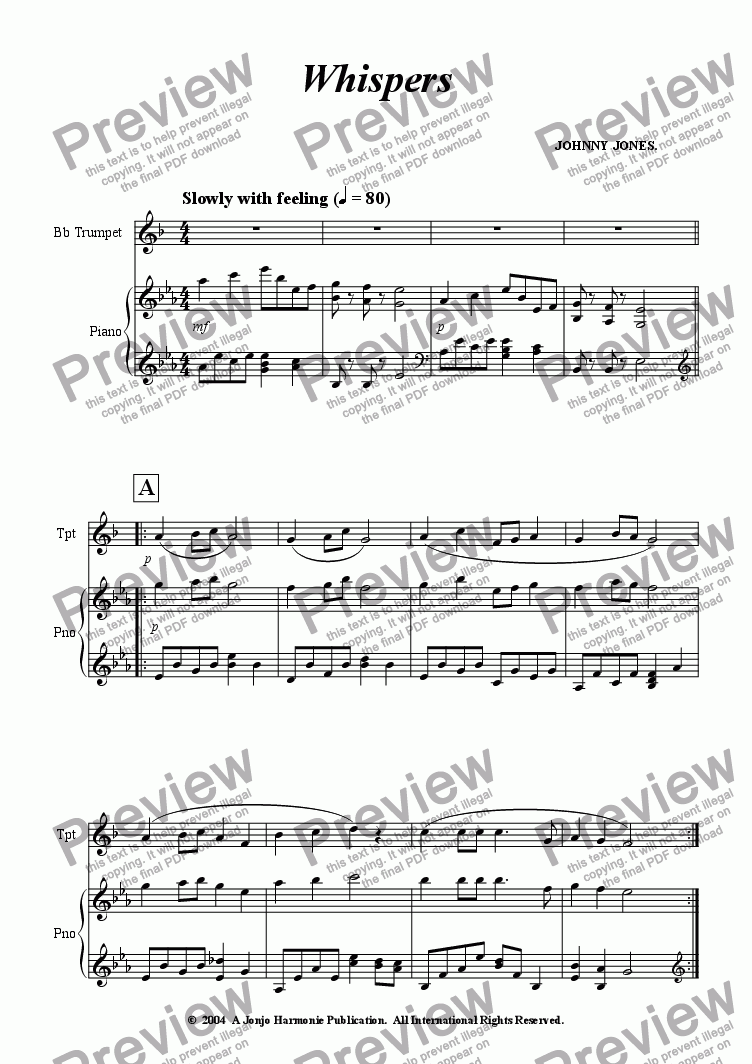 page one of Whispers   (Bb Trumpet and Piano)