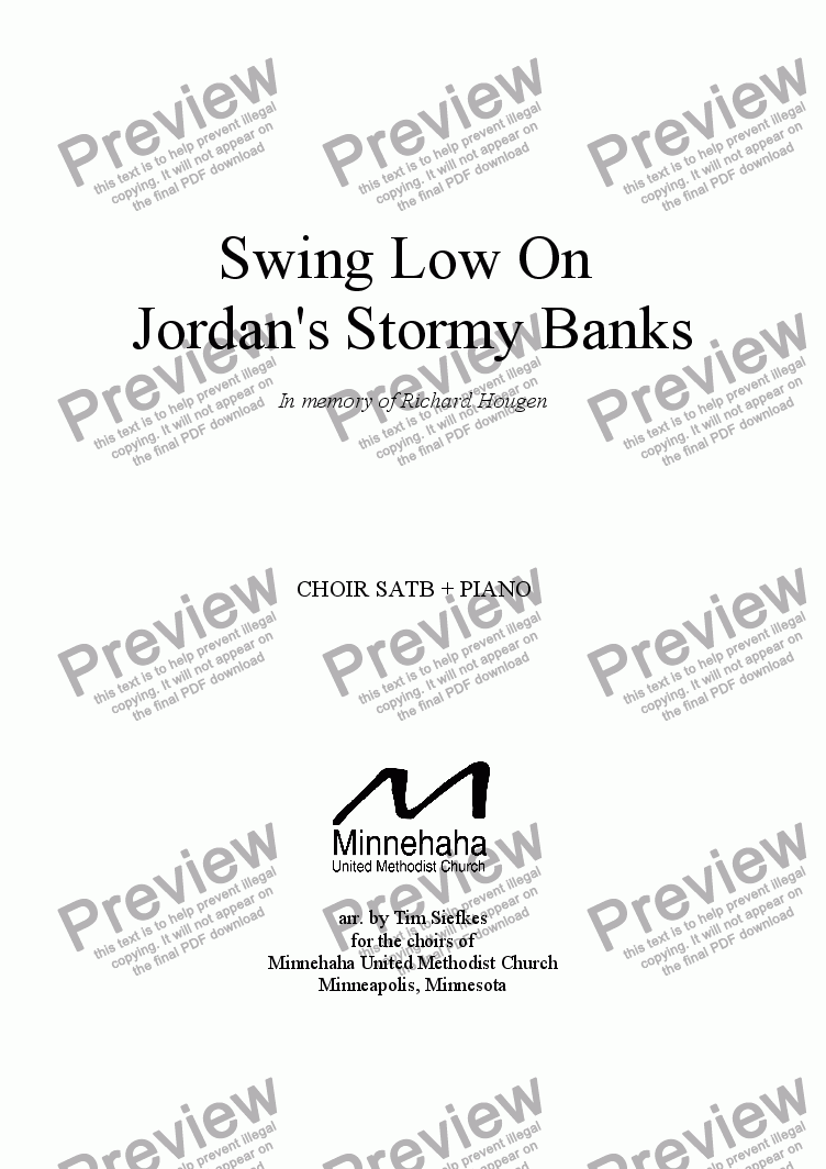 page one of Swing Low on Jordan's Stormy Banks