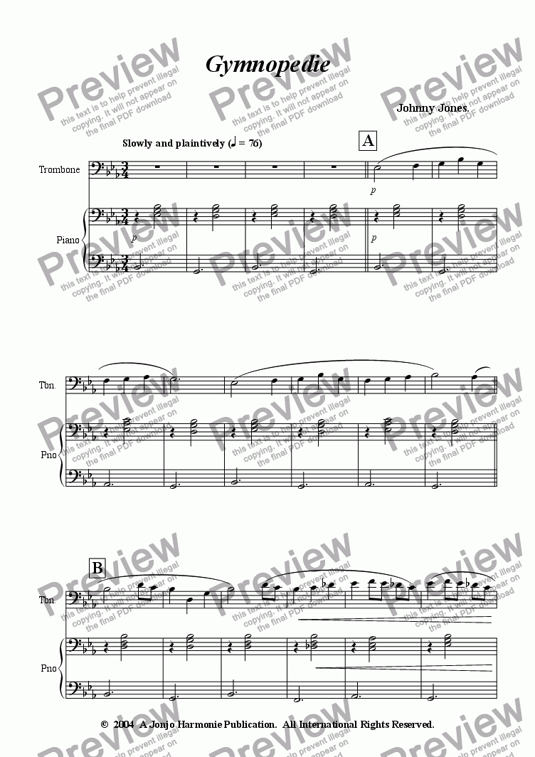 page one of Gymnopedie   (Trombone and Piano)