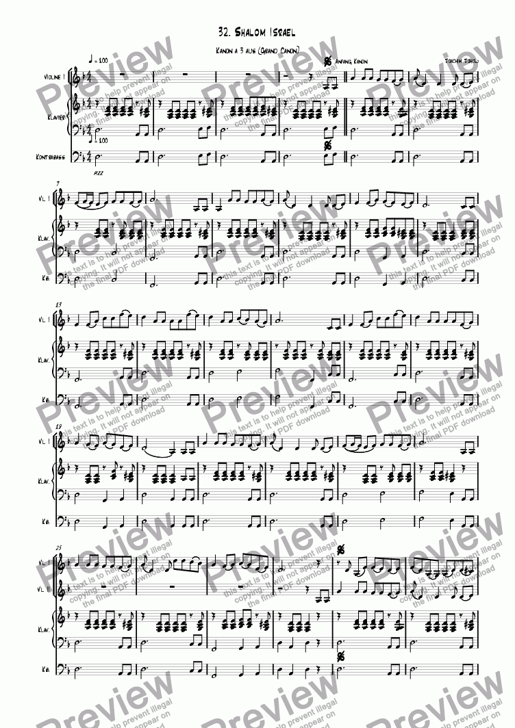 page one of Grand Canon 32 (Shalom Israel - violins )