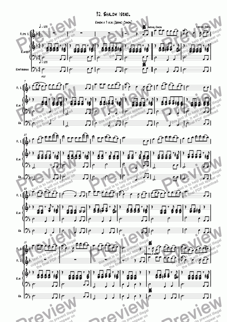 page one of Grand Canon 32 (Shalom Israel - Flute )