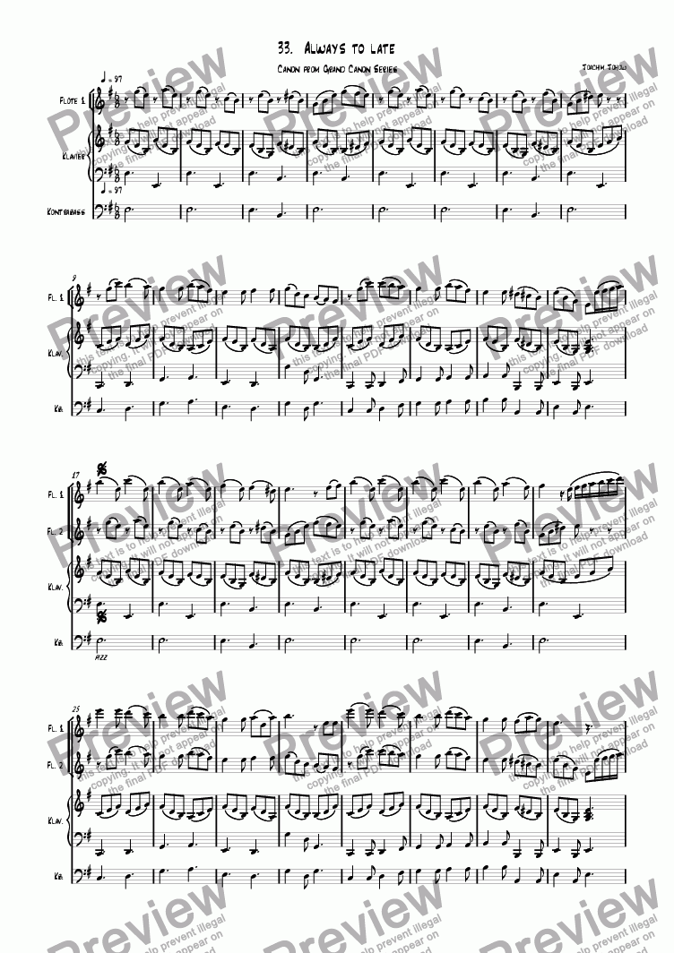 page one of Grand Canon 33 (Always to late - Flute)