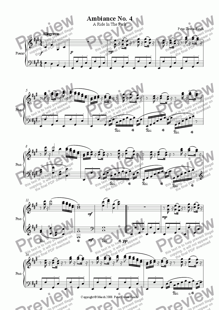 page one of Ambiance Number 4: A Ride in the Park in A Major - for Piano.