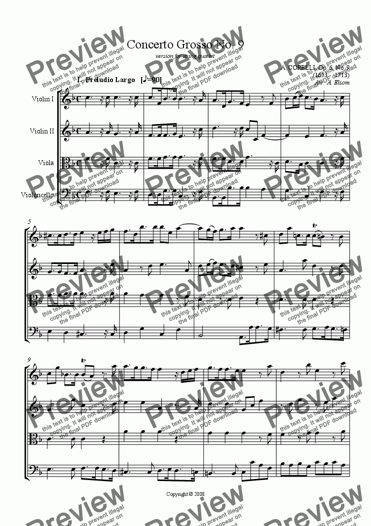 page one of Corelli Concerto Grosso in F Major
