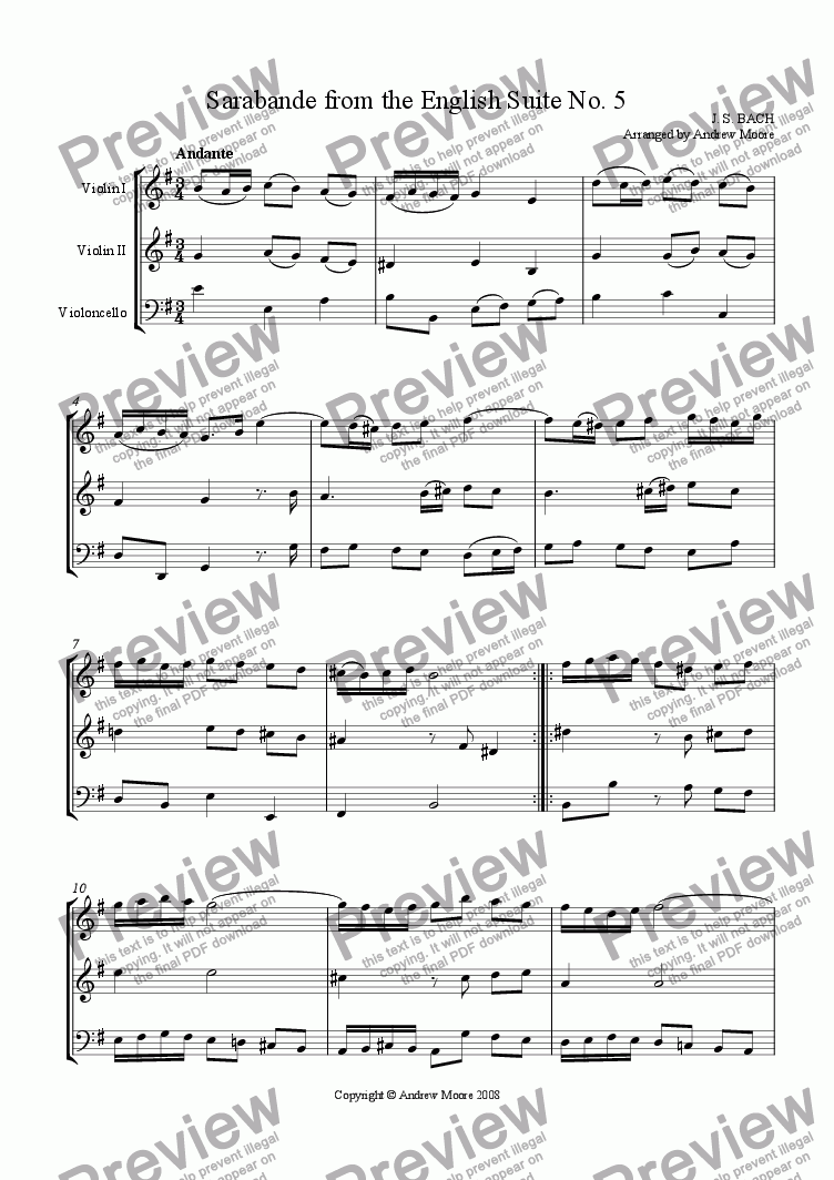 page one of 'Sarabande from English Suite 5' for String Trio