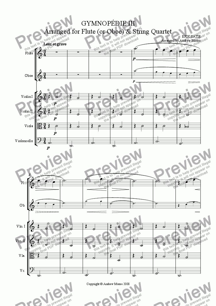page one of Gymnopedie No. 3  for Flute or Oboe & String Quartet