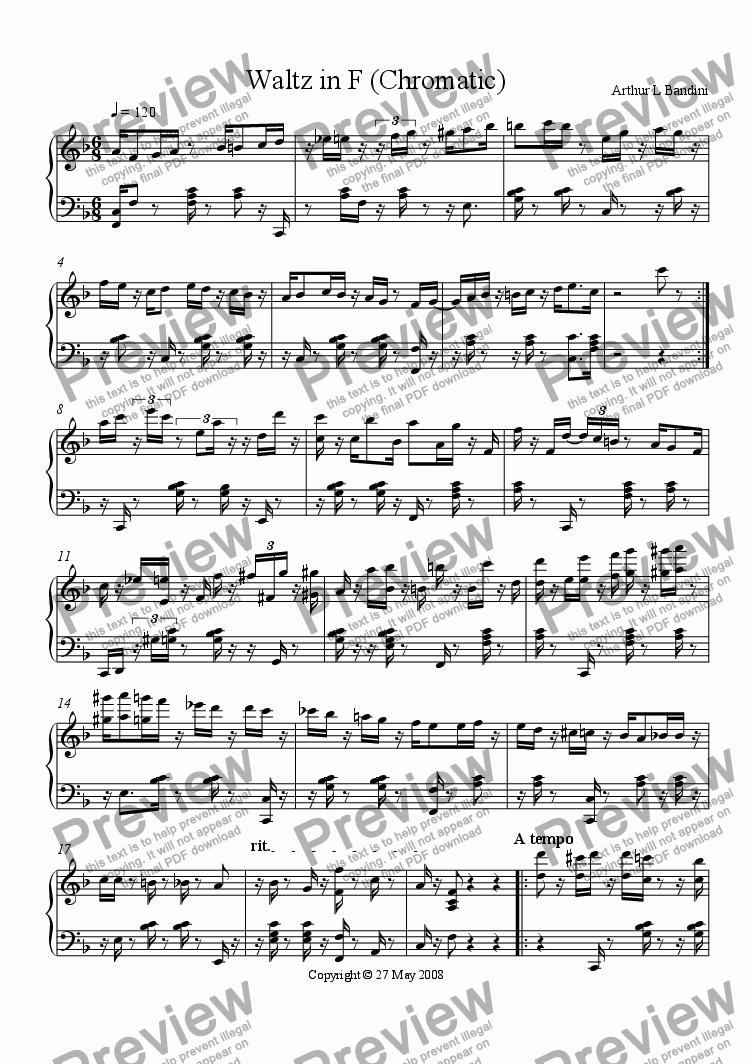 page one of Waltz in F (Chromatic)