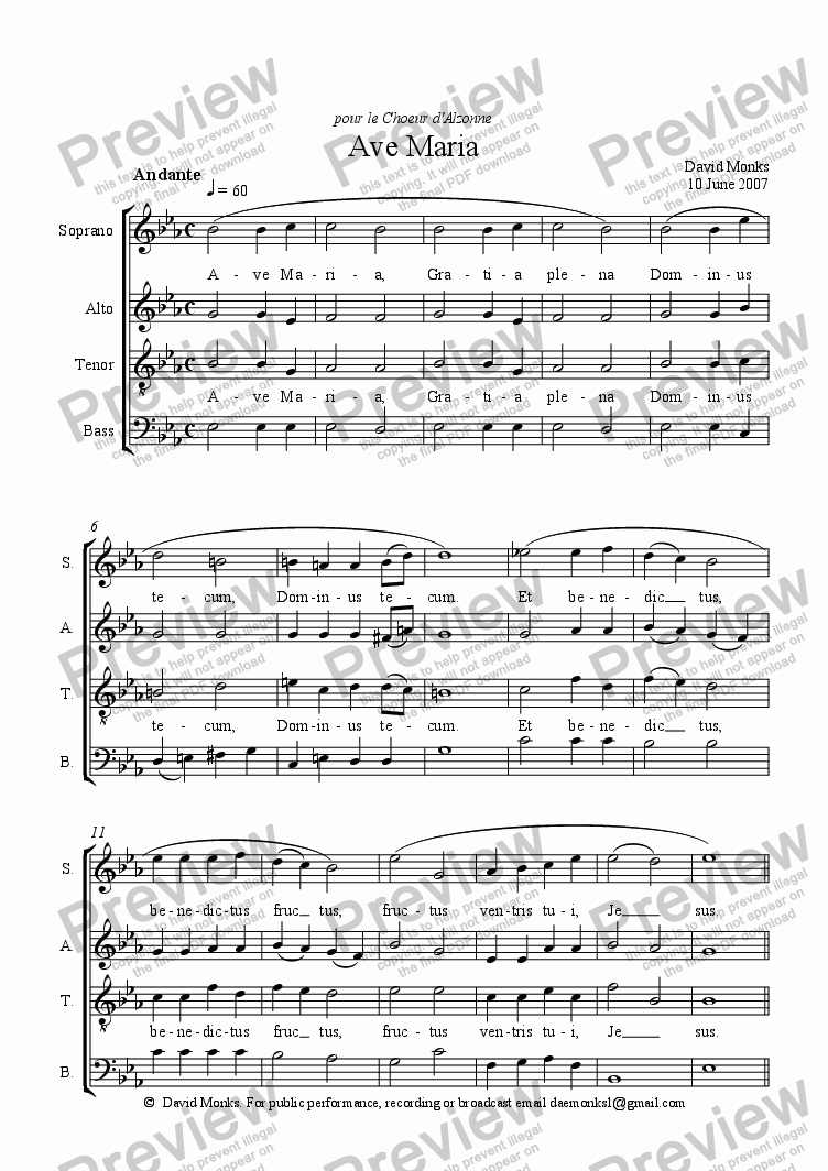 page one of Ave Maria (Choeur d'Alzonne) - SATB