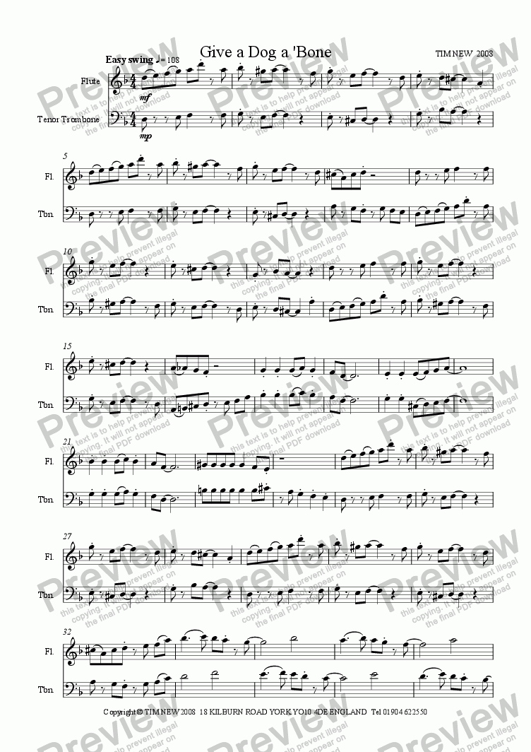 page one of Give a Dog a 'Bone (flute and trombone duet)