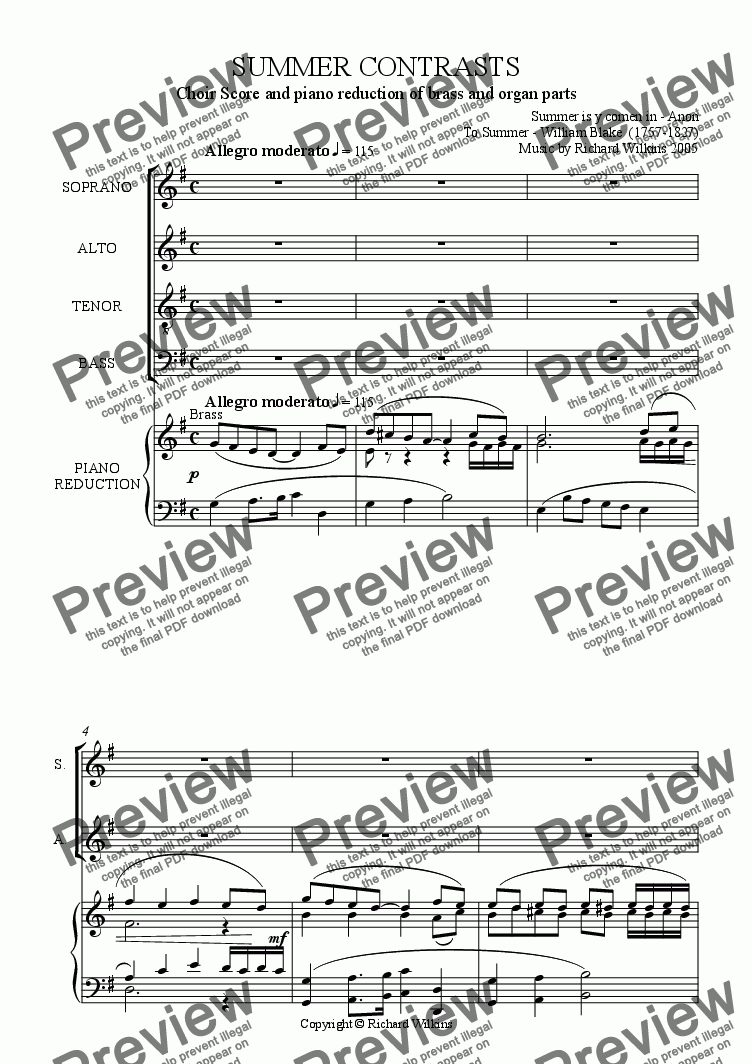 page one of Summer Contrasts (choir and piano reduction)