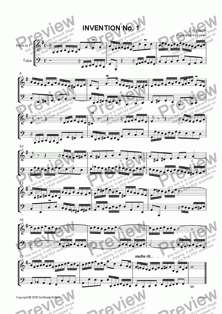 page one of Bach: Invention No. 1 (Horn and Tuba)