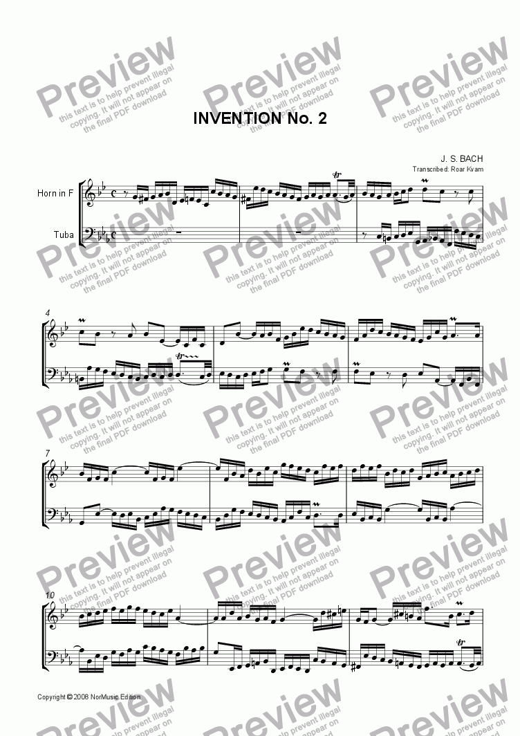 page one of Bach: Invention No. 2 (Horn and Tuba)