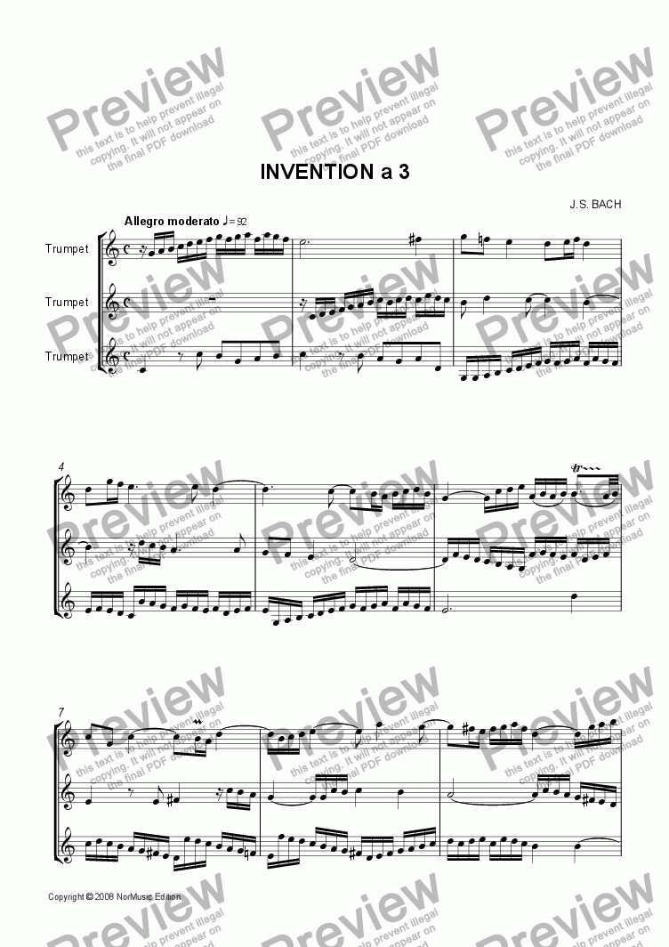 page one of Bach: Invention a 3 (3 Trumpets)