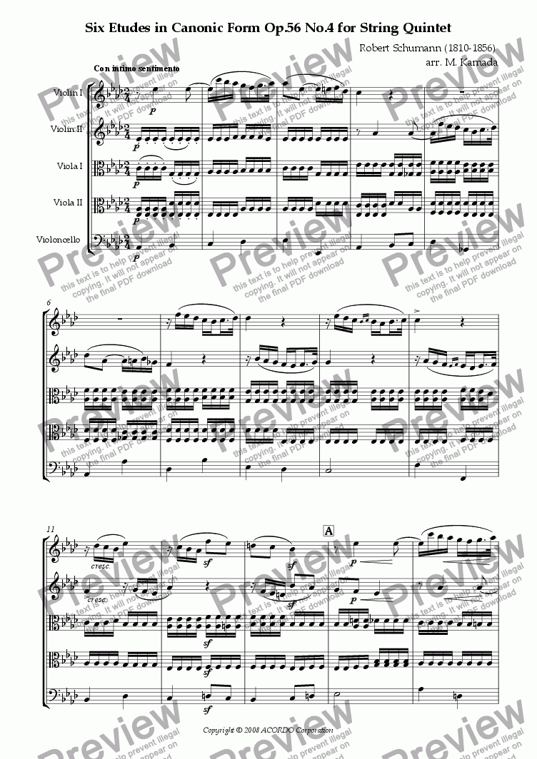 page one of Six Etudes in Canonic Form Op.56 No.4 for String Quintet