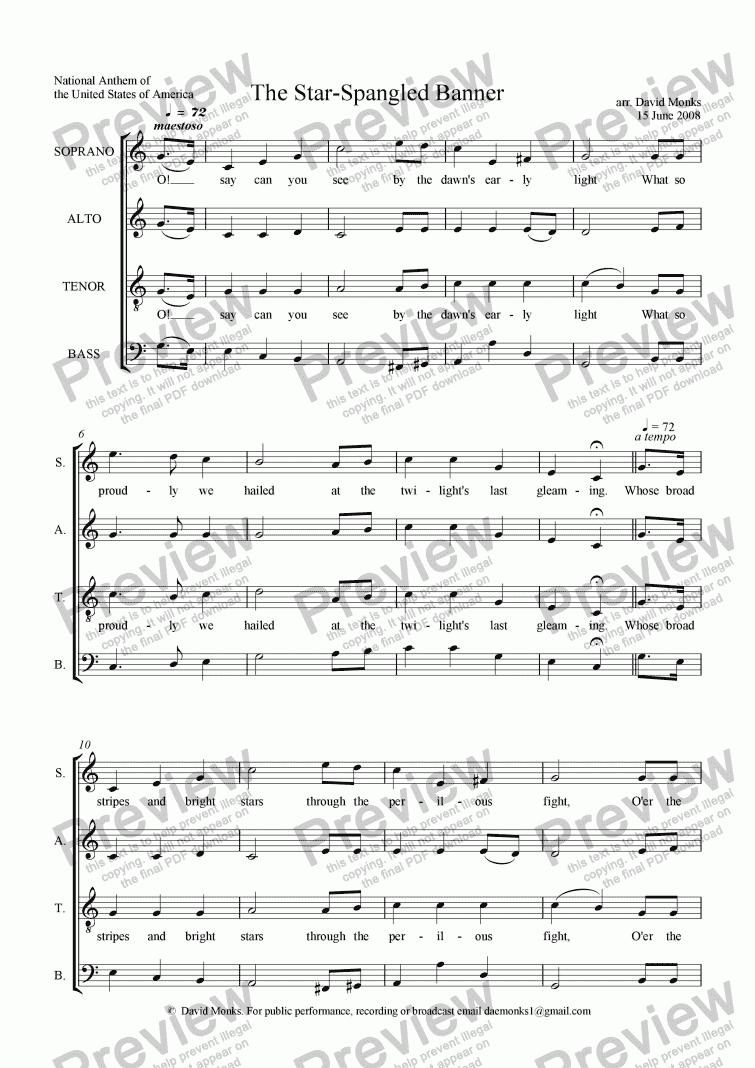 Star Spangled Banner The Satb Download Sheet Music Pdf File