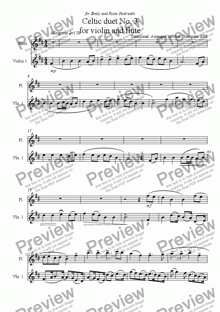 page one of Celtic Duet No3 for violin and flute