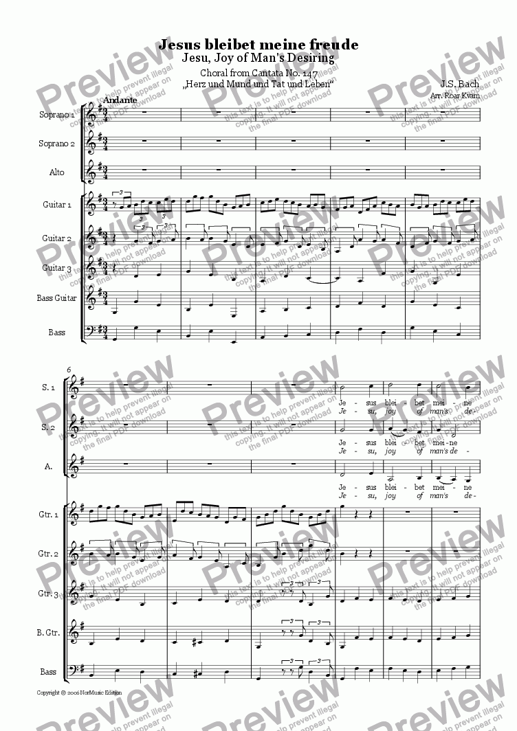 page one of Bach: Jesu, Joy of Man's Desiring (SSA Choir and Guitar Ensemble)