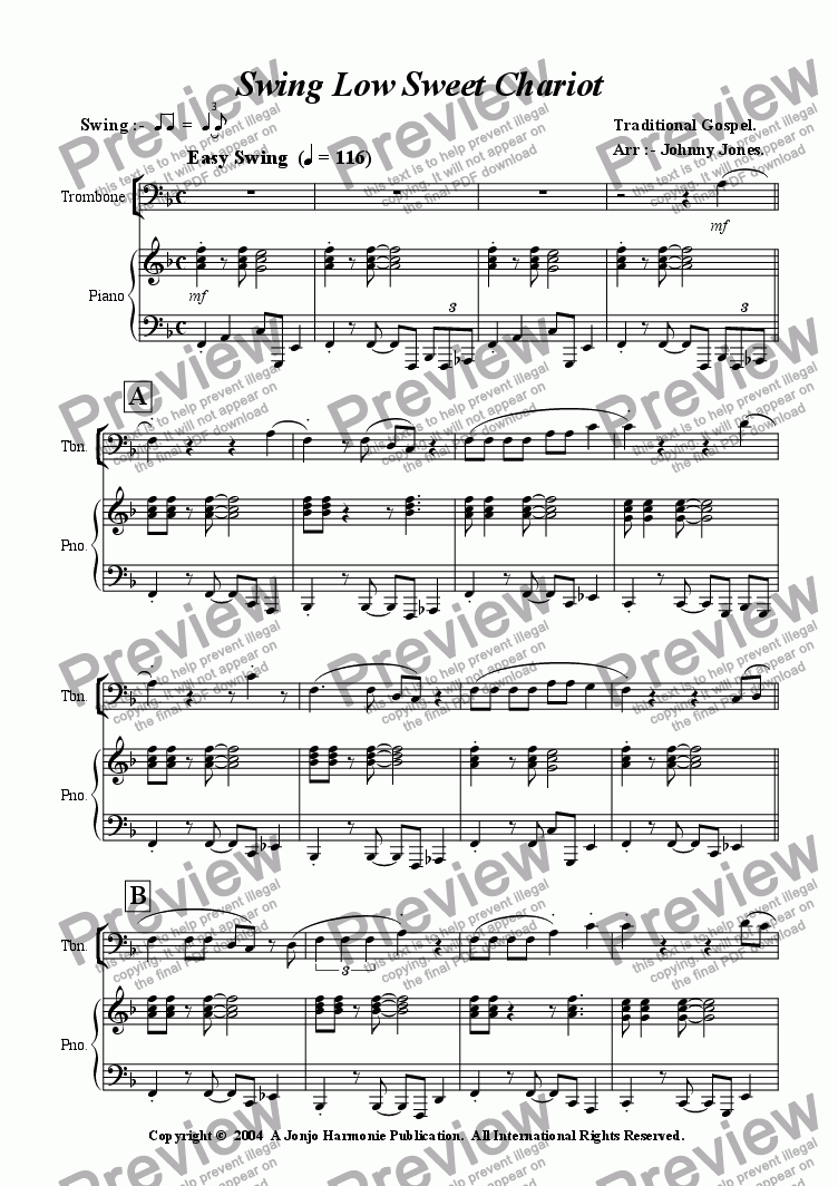 Swing Low Sweet Chariot 8 Bar Blues Trombone And Piano Pdf