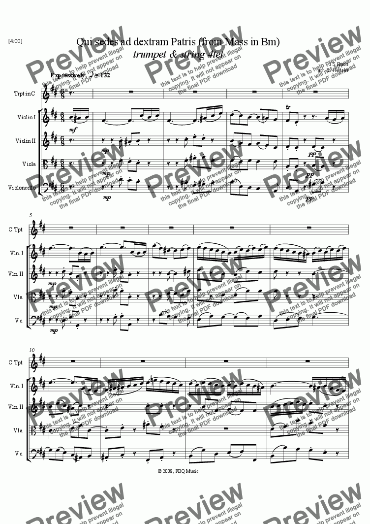 page one of Qui sedes ad dextram Patris, Bm Mass (trumpet & string 4tet)