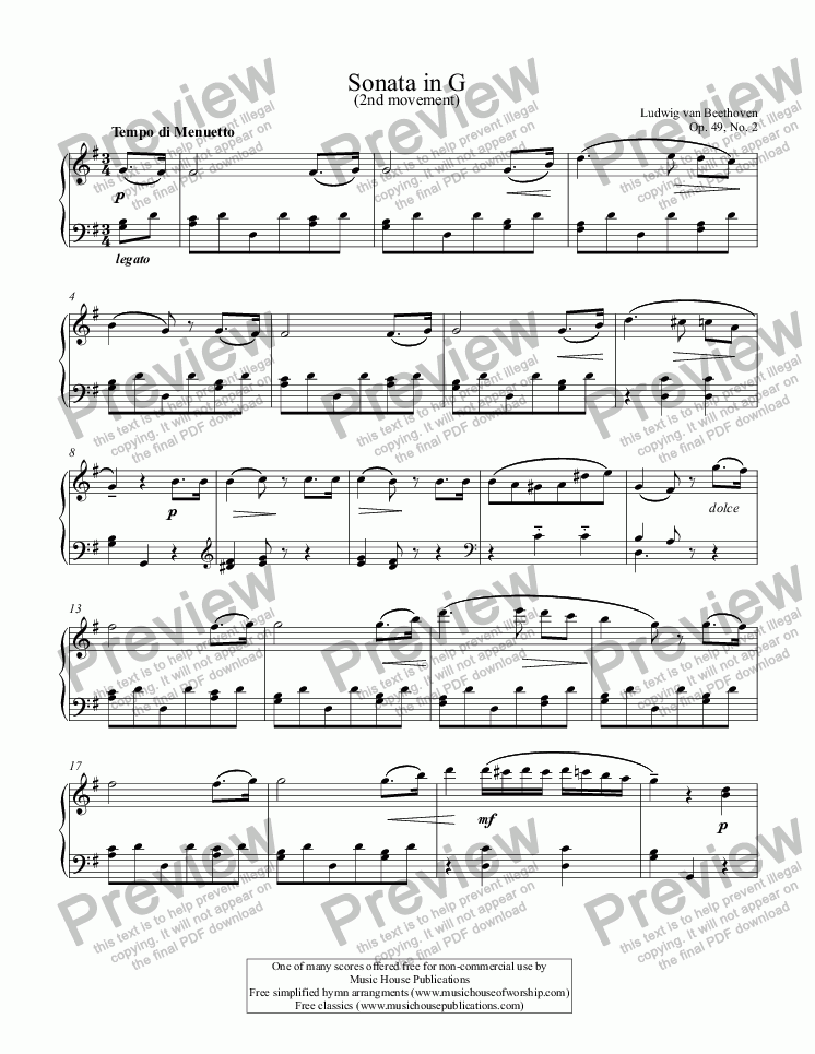 page one of Sonatina in G (1st & 2nd Movements)