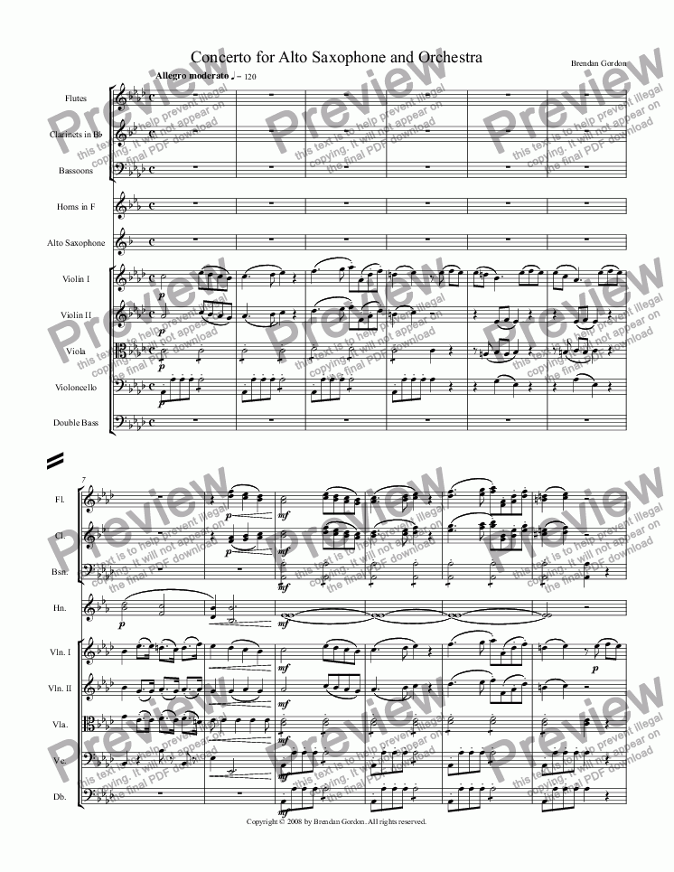 page one of Concerto for Alto Saxophone in A-flat Major (1st mvt)