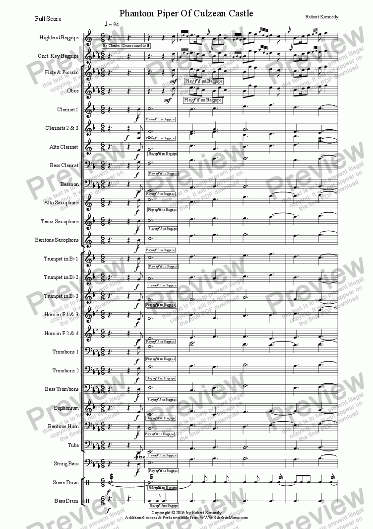 page one of Phantom Piper Of Culzean Castle  for Bagpipe & Wind Band