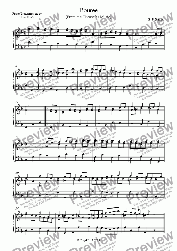 page one of Music for the Royal Fireworks - BoureeASALTTEXT