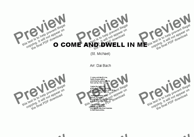 page one of O come and dwell in me (St. Michael)