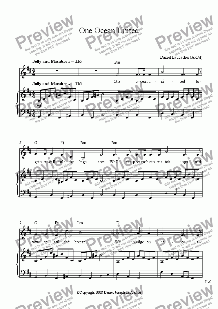 page one of One Ocean United (voice, pf, guitar chords)