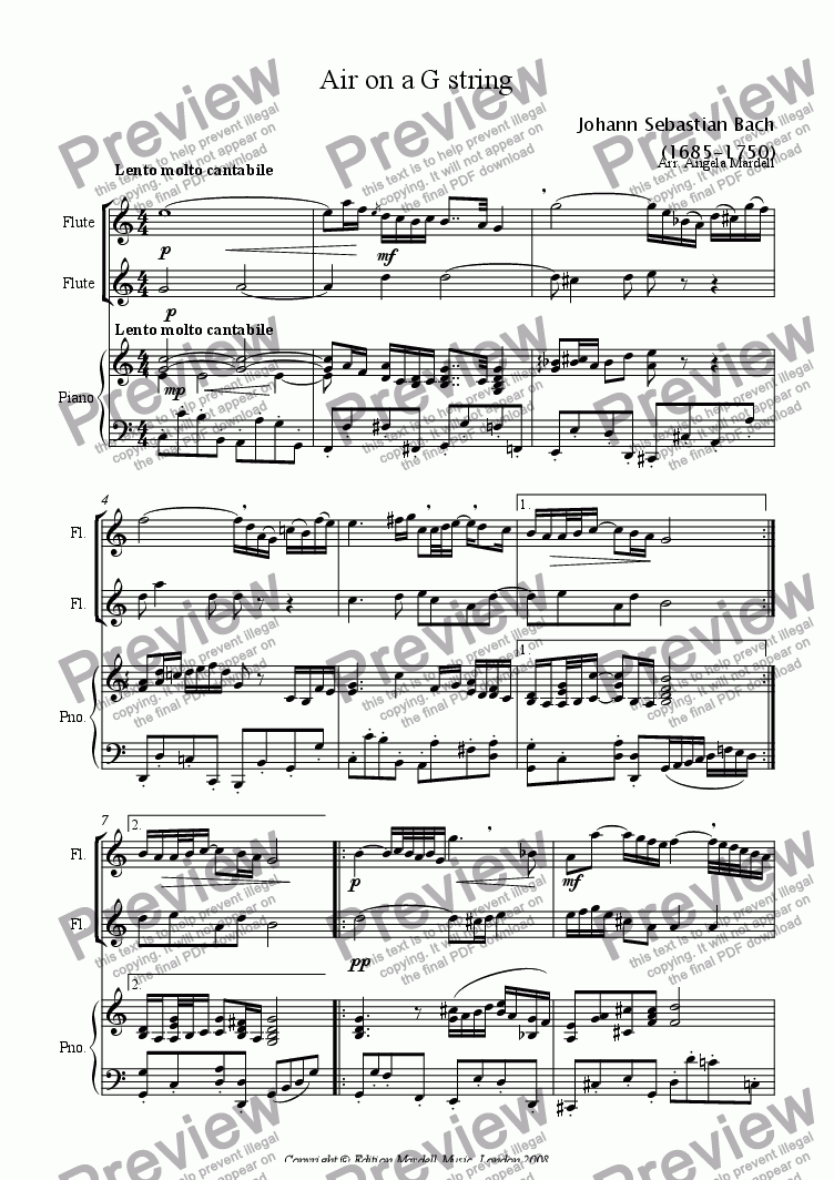 page one of Air on a G string (1 or 2 flutes & kbd)