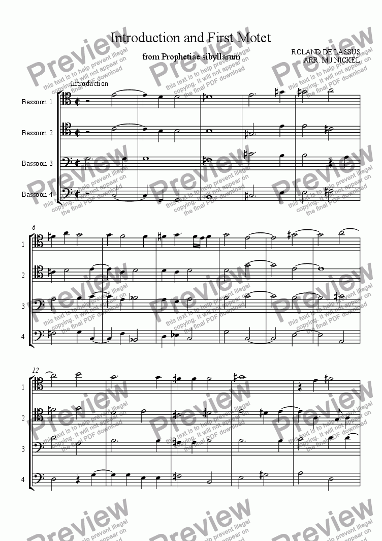page one of Introduction and First Motet