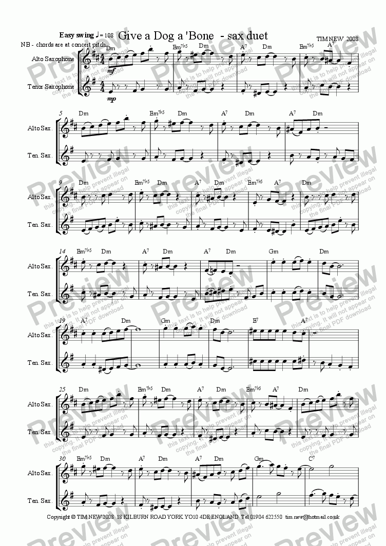 page one of Give a Dog a 'Bone - sax duet
