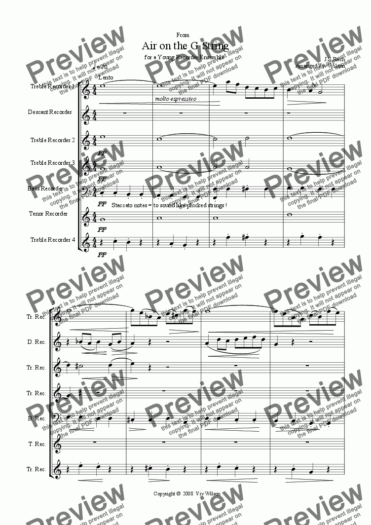 Bach - Air on the G String (Recorder Ensemble) for Sextet of Woodwinds by  J S Bach - Sheet Music PDF file to download