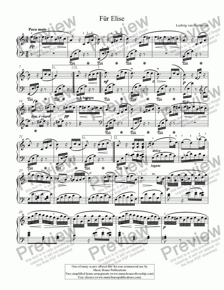Fur Elise - Download Sheet Music PDF file