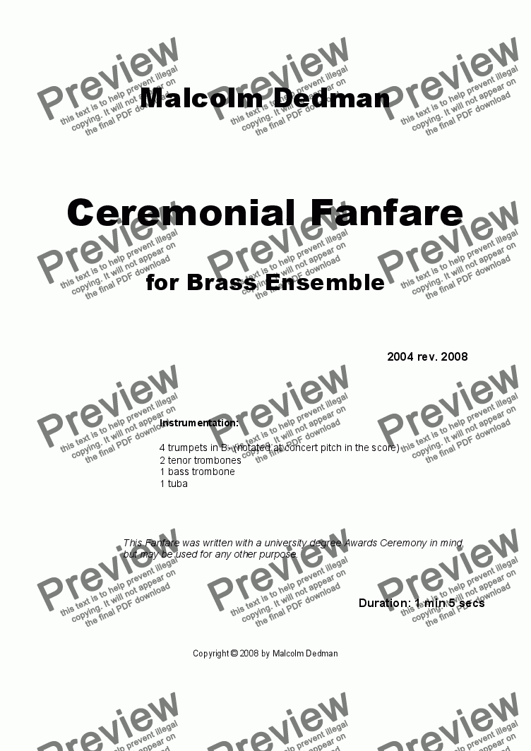 page one of Ceremonial Fanfare