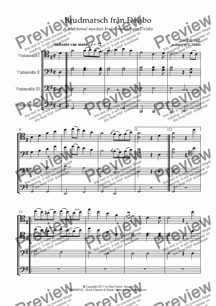 page one of Bridal march from Delsbo (Sweden) / Brudmarsch fran Delsbo for cello quartet