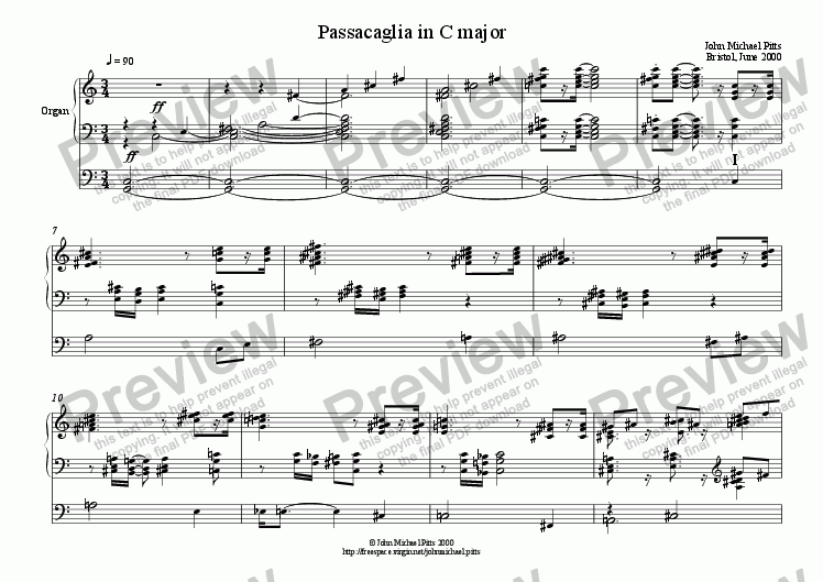 page one of Passacaglia (organ) [2000]