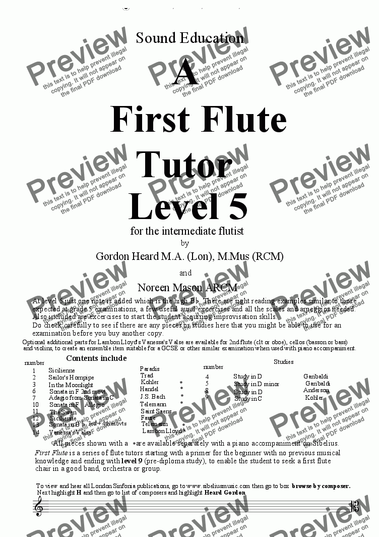 page one of A 1st  Flute Tutor Level 5