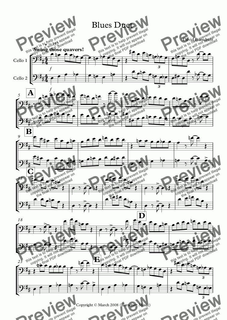 page one of Blues Duet for Cello