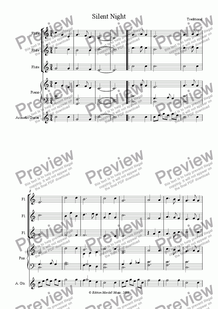 page one of Silent Night (3 flutes & guitar or piano)