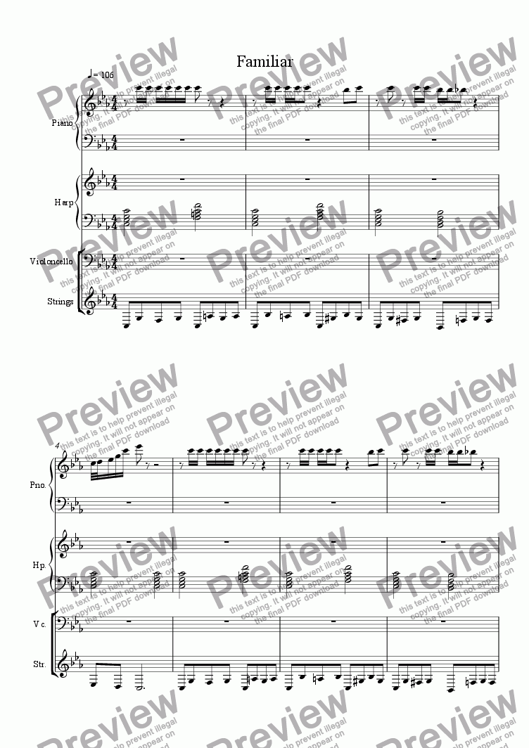 page one of Familiar (with strings)