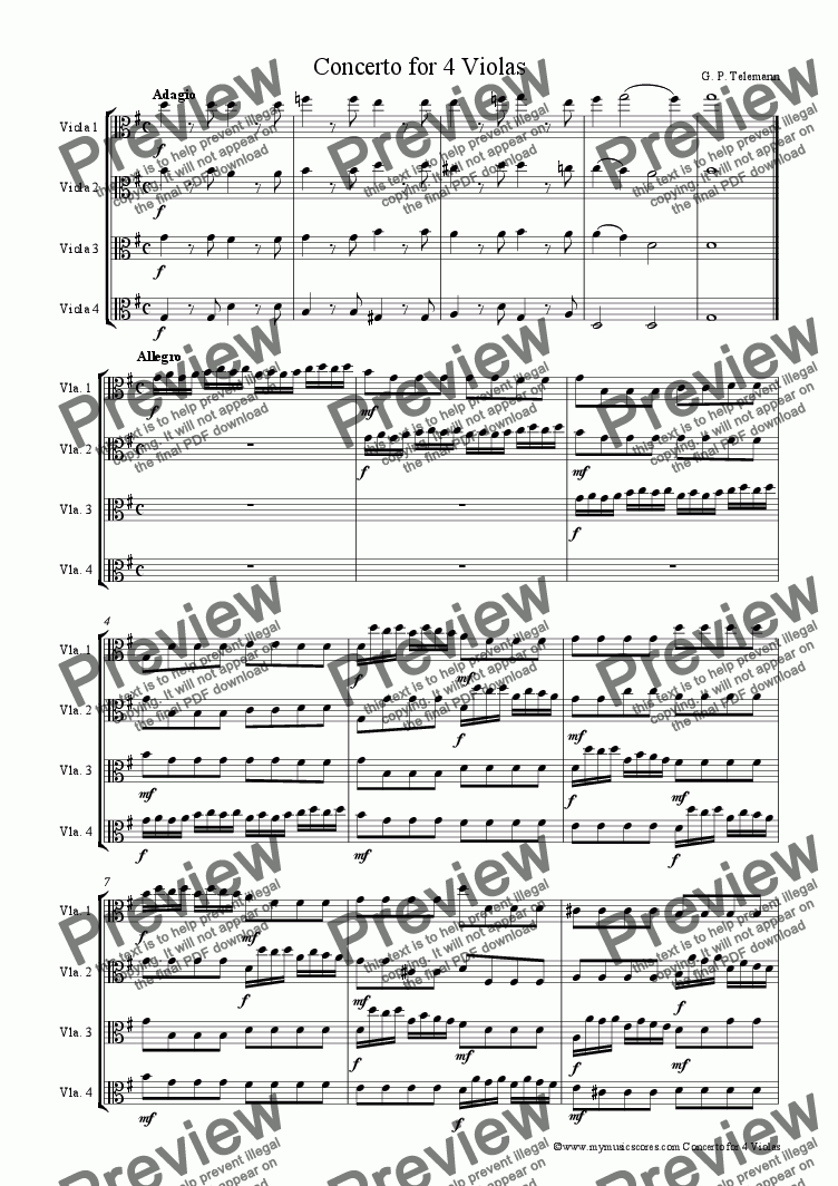 page one of Telemann Concerto for 4 Violas in G Major
