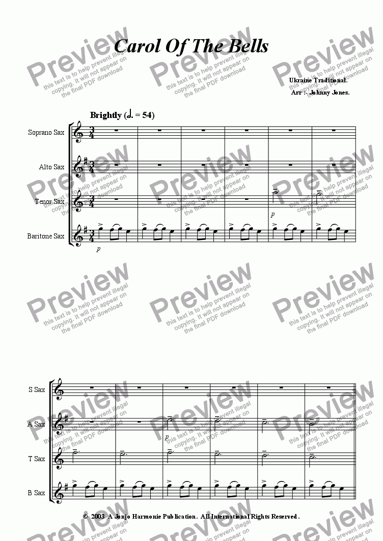 page one of Carol Of The Bells   (Saxophone Quartet)