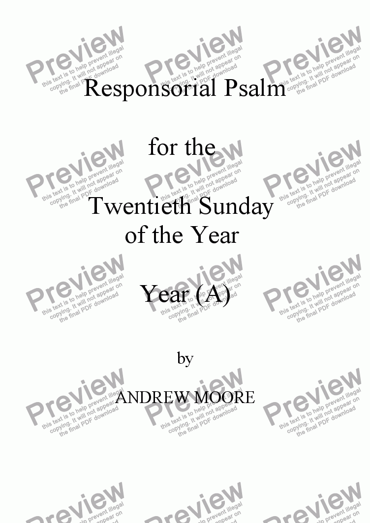 page one of Twentieth Sunday of the Year (A)