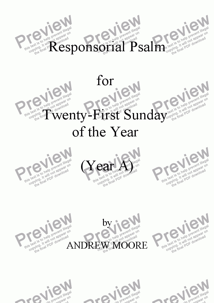 page one of Twenty-First Sunday of the Year (A)