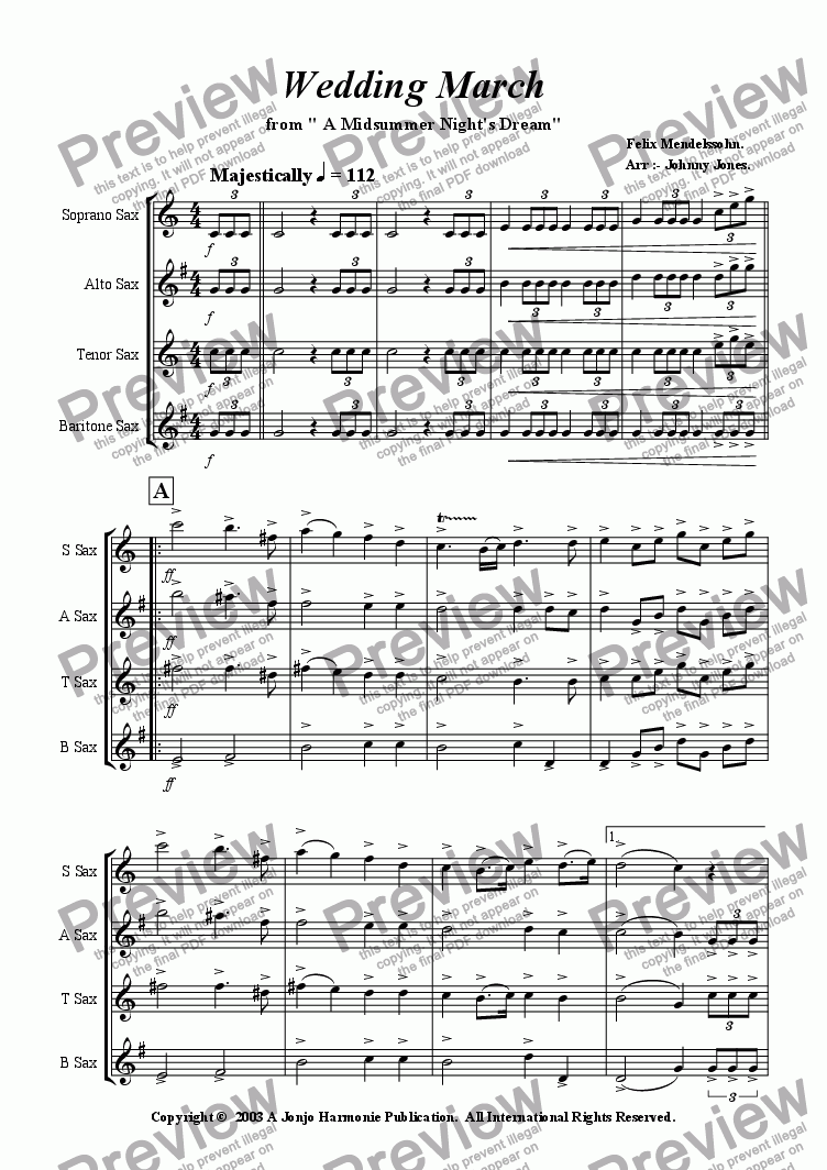 "page one of Wedding March  from ""A Midsommer Nights Dream"""