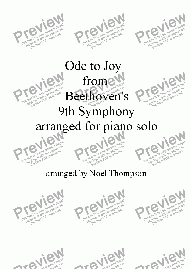 Ode to Joy from Beethoven's 9th Symphony, piano solo (revised) for Solo  instrument (Piano) by Beethoven - Sheet Music PDF file to download